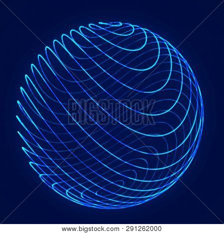 Sphere With Twist Lines. Background For Business Event. Wireframe Technology Blue Sphere. 3D Renderi
