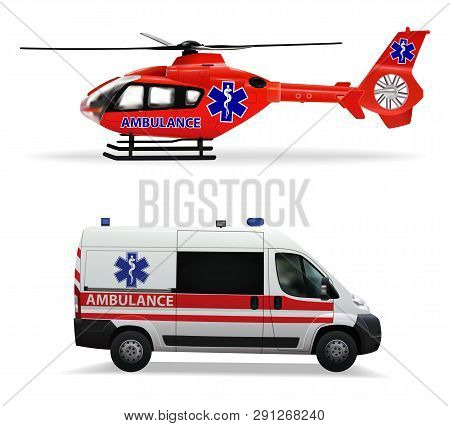 Ambulance Helicopter And Ambulance Car. Air And Ground Transportation To Transport Injured And Sick