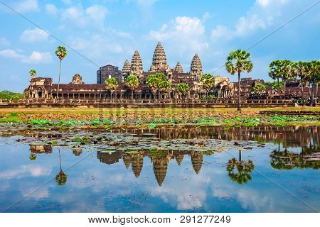 Angkor Wat Temple In Siem Reap In Cambodia. Angkor Wat Is The Largest Religious Monument In The Worl