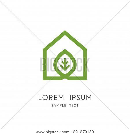 Green Home Logo - Outline House And Fresh Leaf Symbol. Greenhouse, Agriculture And Ecology Vector Ic
