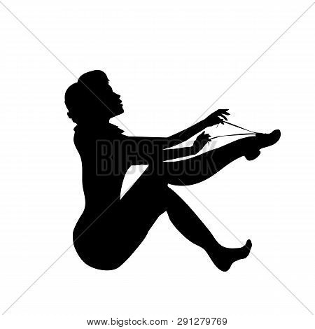 Silhouette Girl Tying A Shoelace For Run. Lady With Long Legs, Black Outline Of The Shape Of The Bod
