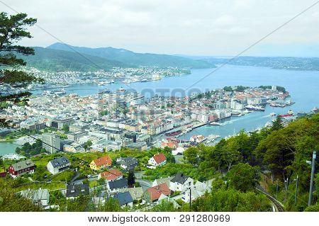 Beautiful Panorama Seen From Mount Floyen In Bergen, Norway