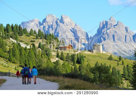 Dolomites, Italy - September, 2016. View Of The Landscape Of Mountains And Peaks Of The Dolomites, I