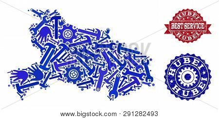 Best Service Combination Of Blue Mosaic Map Of Hubei Province And Textured Seals. Mosaic Map Of Hube