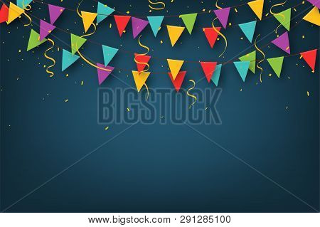 Carnival Garland With Pennants. Decorative Colorful Party Flags With Confetti For Birthday Celebrati