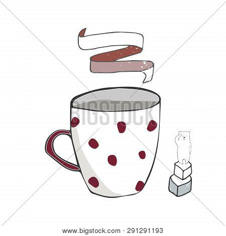Porcelain Mug Vector Illustration Color Funny Polar Bear Cup Coffe Sugar Breakfast Celebration Text