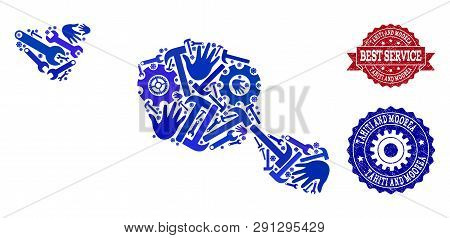 Best Service Composition Of Blue Mosaic Map Of Tahiti And Moorea Islands And Rubber Seals. Mosaic Ma