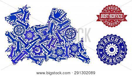 Best Service Combination Of Blue Mosaic Map Of Utrecht Province And Unclean Seals. Mosaic Map Of Utr