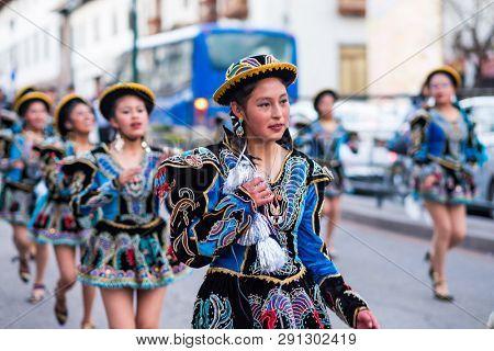 Cusco, Peru - October 11, 2018: Traditional holiday on a Cusco street in Peru
