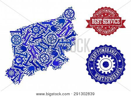 Best Service Combination Of Blue Mosaic Map Of West Pomerania Province And Unclean Seals. Mosaic Map