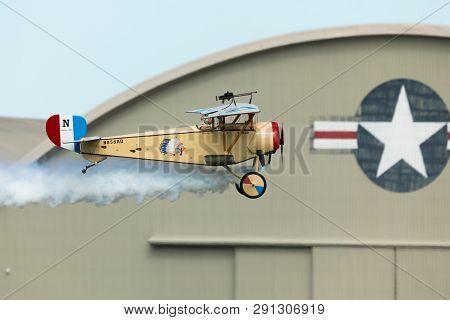 Dayton, Ohio, Usa - September 23, 2018: World War I Dawn Patrol Rendezvous, Nieuport 11, Performing