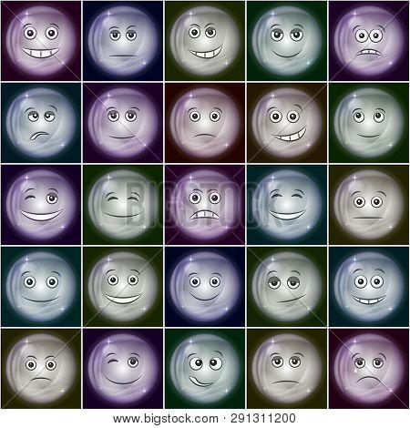 Set Of Soap Bubbles Smileys, Symbolizing Various Emotions. Eps10, Contains Transparencies. Vector
