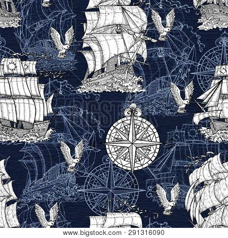 Seamless Pattern With Antique Sea Vessel, Nautical Compass And Gulls On Blue Texture. Graphic Nautic