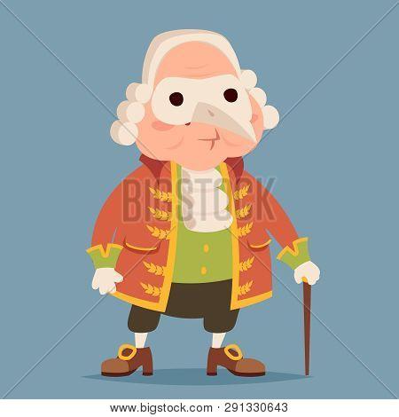 Fancy mask wig cane adult noble medieval aristocrat cartoon design vector illustration poster