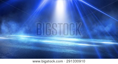 Empty Street Scene Background With Abstract Spotlights Light. Night View Of Street Light Reflected O