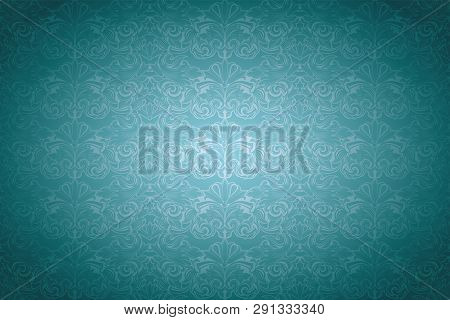 Turquoise,aqua Blue Vintage Background ,royal With Classic Baroque Pattern, Rococo With Darkened Edg