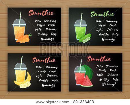 Set Of Smoothie Fruit Cocktail Flat Vector Illustration. Tasty Natural Fruit, Glass With Colorful La