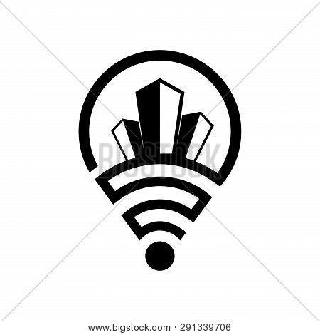Share Building Location Pin Vector Design, Building Icon, Location Pin Building Icon Sign For Logo,