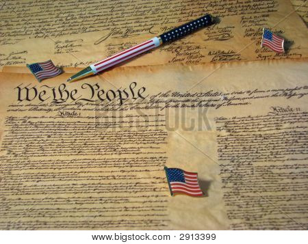 Constitution Pen And Flags