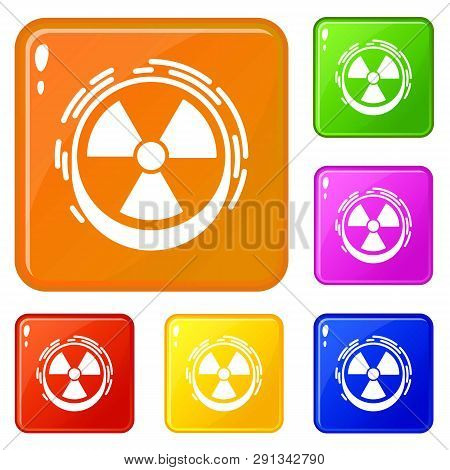 Radiation Sign Icons Set Collection Vector 6 Color Isolated On White Background
