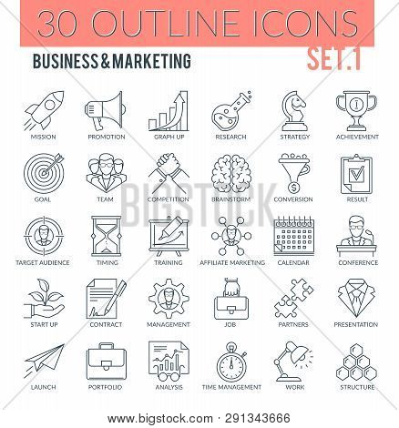 Set Of Modern Outline Icons Of Business, Marketing, Advertising, Management, Market Research. Perfec