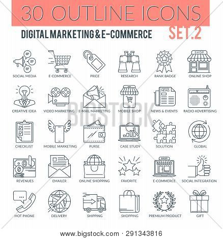 Set Of Modern Outline Icons Of Marketing, Advertising, E-commerce, Digital Marketing, Seo. Perfect F