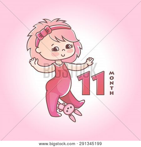 Little Baby Girl With Pink Bow And Toy Bunny. Stages Of Child Development In The First Year Of Life.