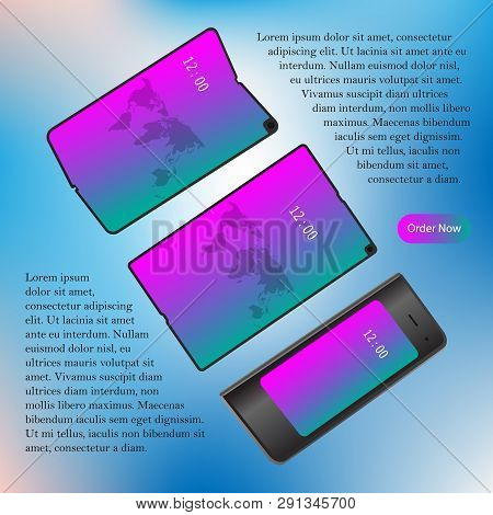 Foldable Screen Smartphone. New Concept. Vector Design Illustration