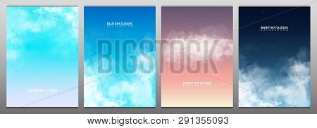 Set Of Sky With White Realistic Clouds. Sunset, Sunrise. Blue And Night Sky. Vector Illustration.