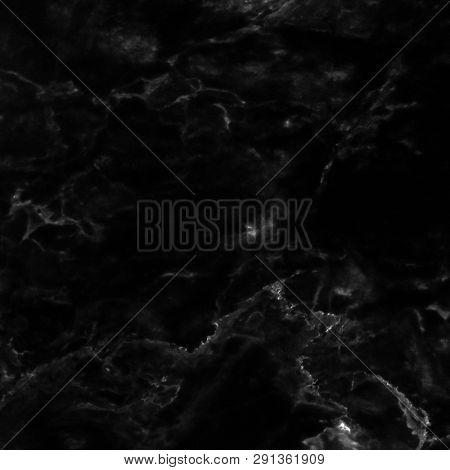 Marble Texture On Black Marbled Tile Surface, Closeup Photo On Black Marbled Tile Surface On Marbled