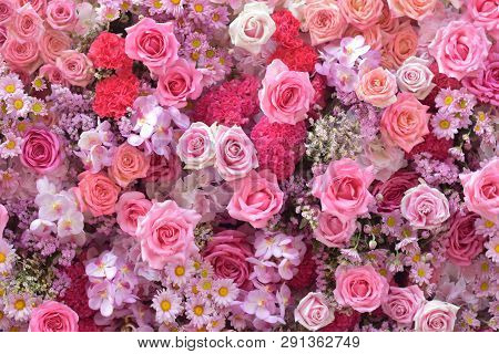Rose Flower Decorate As Bouquet, Beautiful Texture On Floral Floor, Flowery Pattern Background, Flow