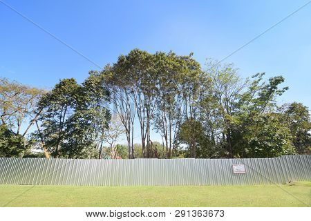 Green Trees Behind Steel Fence Of Construction Site, Ecology And Environment Damage Concept, Green N