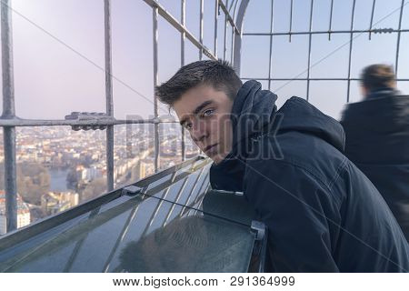 Portrait Of A Young Man On An Observation Tower