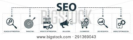 Seo Set Icons Collection. Includes Simple Elements Such As Search Optimization, Keywords, Bullhorn,