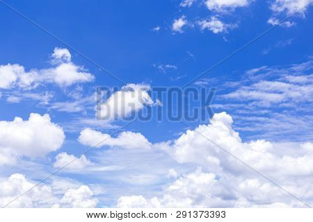 The Vast Blue Sky And Clouds Sky. Blue Sky Background With Tiny Clouds. Blue Sky Panorama. Blue Sky
