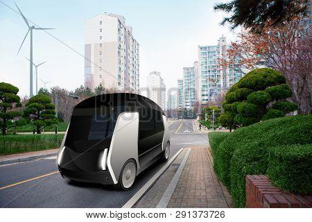 Futuristic Autonomous Bus On The City Street.