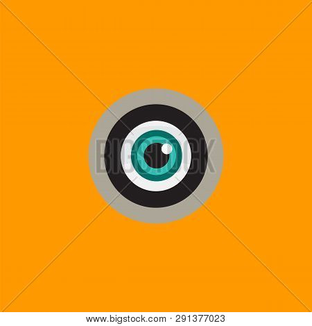 Logo With A Green Eye Peeking In The Peephole. Curious Person Is Looking Through The Hole. Private S