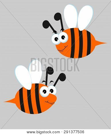 Bees Set. Raster Illustration With Cute Cartoon Bees, On Grey Background.