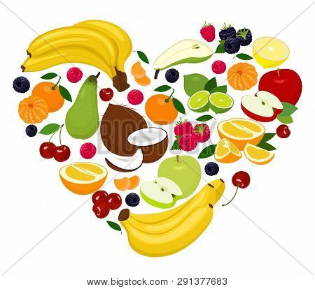Heart Shape By Various Fruits. Heart Of Coconut, Pear, Lime, Raspberry, Blackberry, Apple, Cherry, M