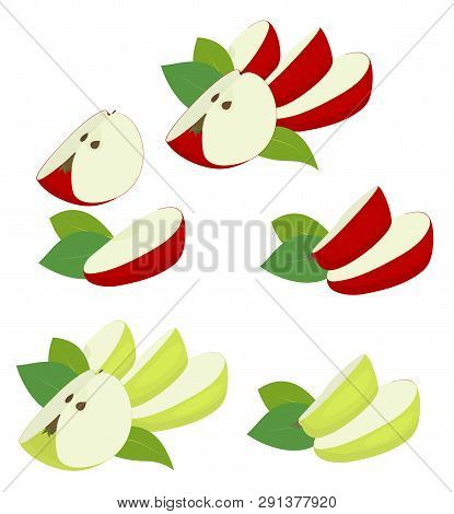 Apple Fruit Red And Green. Apple Quarter, Slices And Apple Leaf Isolated On White Background. Apples