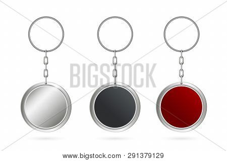 Creative Vector Illustration Of Metal Keychains For Key Set Isolated On Transparent Background. Art
