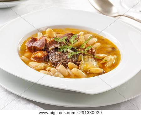 Fabada Is A Typical Stew From The Asturias Region In Spain.