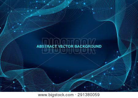 Abstract Plexus Background With Connected Lines And Dots. Plexus Geometric Effect Big Data With Comp
