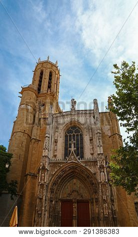 Front View Of Famous Aix Cathedral Of The Holy Saviour (saint-sauveur) In Aix-en-provence, Southern