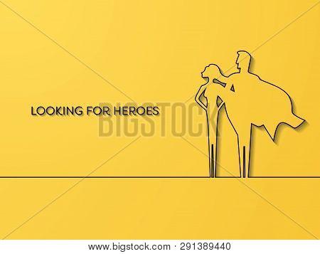 Business Superhero Recruitment Vector Concept. Symbol Of Career Opportunity, Strength, Leaders, Moti