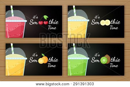Natural Smoothie Fruit Shake Vector Logo Illustration. Set Of Tasty Fruit, Glass With Colorful Layer