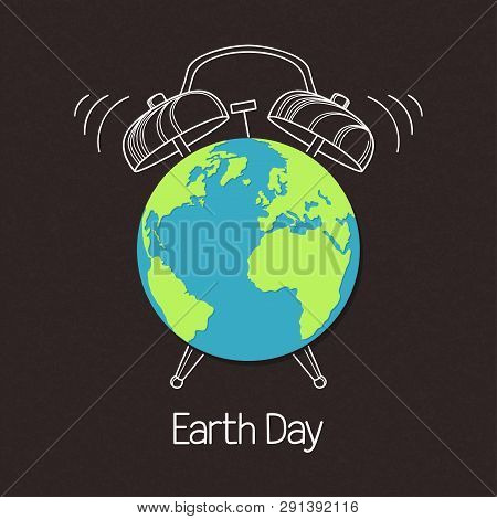 Earth Symbol With Hand Drawn Alarm Clock Over Blackboard Texture. Concept For Earth Day, Hour, Envir