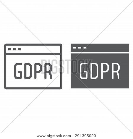 Gdpr Site Line And Glyph Icon, Webpage And Website, Browser Sign, Vector Graphics, A Linear Pattern