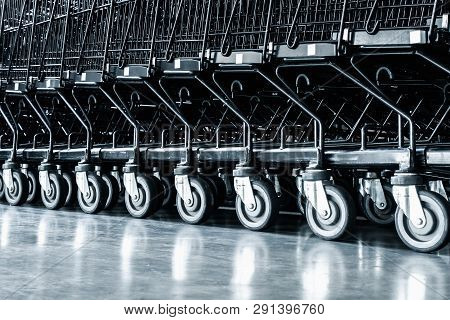 Row Of Shopping Cart And Area Handling In Supermarket Store, Roller Of Trolley In Department Shop. B