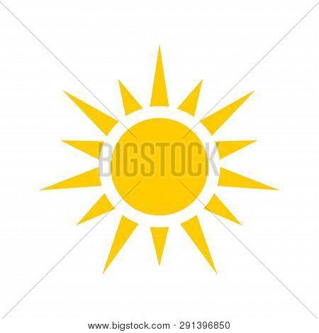 Yellow Sun Icon. Sun Rays In Flat Design. Sun Vector Icon